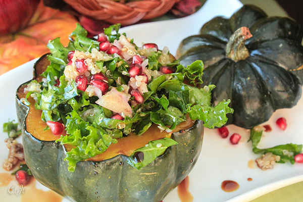 Stuffed Pumpkin Pie Spiced Acorn Squash with Quinoa Kale and Pomegranate 0373 E (1 of 1)